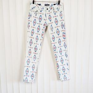 VIGOSS THE JAGGER Super Skinny White Aztec Jeans